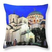 Cathedral Of Saint Sava At Dusk Belgrade Serbia Throw Pillow