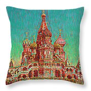 Cathedral Of St. Basil, Moscow Russia Throw Pillow