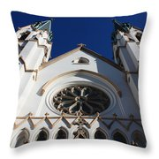 Cathedral Of St John The Babtist In Savannah Throw Pillow