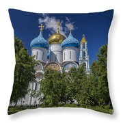 Cathedral Of The Assumption At Trinity Lavra Of St. Sergius In Sergiyev Posad, Russia Throw Pillow