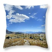 Cathedral Peak Over Waterton Valley Trail - Glacier National Park Throw Pillow