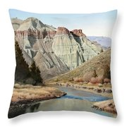 Cathedral Rock John Day River Throw Pillow