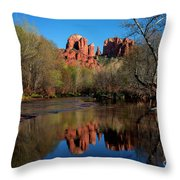 Cathedral Rock Reflection In Oak Creek Throw Pillow