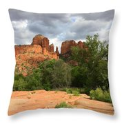 Cathedral Rock With Clouds Throw Pillow