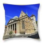 Cathedral Saint-pierre In The Old City, Geneva, Switzerland Throw Pillow