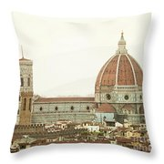 Cathedral Santa Maria Del Fiore At Sunset, Florence. Throw Pillow