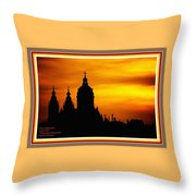 Cathedral Silhouette Sunset Fantasy L A With Alt. Decorative Ornate Printed Frame. Throw Pillow