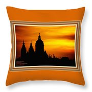 Cathedral Silhouette Sunset Fantasy L A With Decorative Ornate Printed Frame. Throw Pillow