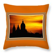Cathedral Silhouette Sunset Fantasy L B With Decorative Ornate Printed Frame. Throw Pillow