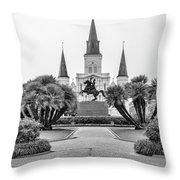 Catholic Basilica Jackson Sq Andrew Jackson New Orleans  Throw Pillow