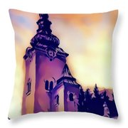Catholic Church Building, Architectural Dominant Of The City, Graphic From Painting. Throw Pillow