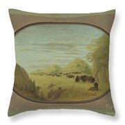 Catlin And Two Companions Shooting Buffalo Throw Pillow