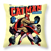 Catman And Kitten Square Format Throw Pillow