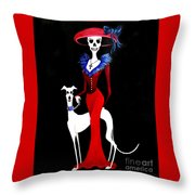 Catrina With Greyhound Throw Pillow