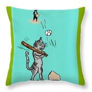 Cats Don't Play Baseball Throw Pillow