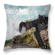 Cats Fighting Throw Pillow