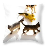 Cats Figurines Throw Pillow