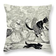 Cats In A Bicycle Race, Hyde Park, 1896 Throw Pillow