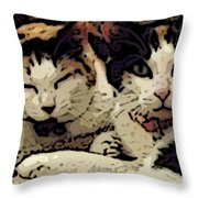 Cats In Bed Throw Pillow by KR Moehr