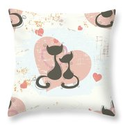 Cats In Love, Romantic Decorative Seamless Pattern Throw Pillow