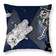 Cats In Space Throw Pillow