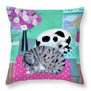 Cats In Spring Throw Pillow