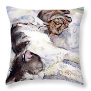 Cats In Watercolor Throw Pillow
