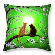 Cats On A Spring Night Throw Pillow