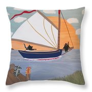 Cats On Cat Boat Throw Pillow