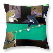 Cats Playing Pool Throw Pillow by Gail Eisenfeld