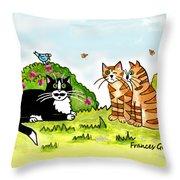 Cats Talking In A Sunny Garden Throw Pillow
