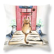 Cat's Welcome Motel Throw Pillow