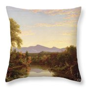 Catskill Creek - New York Throw Pillow by Thomas Cole