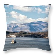 Catskill Mountains With Lighthouse Throw Pillow
