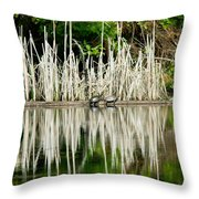 Cattail Reflection Throw Pillow