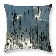 Cattail Sky Throw Pillow