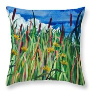 Cattails Throw Pillow by Helen Klebesadel