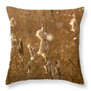 Cattails In Snowstorm 3 Throw Pillow