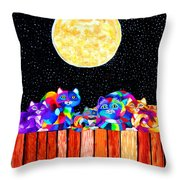 Catting In The Moonlight Throw Pillow