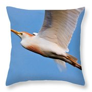 Cattle Egret On The Wing Throw Pillow
