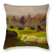 Cattle In Field  Throw Pillow