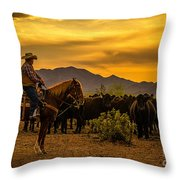 Cattle Drive 41 Throw Pillow