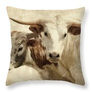 Cattle Steers Throw Pillow