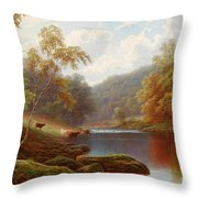 Cattle Watering Along The River Wharfe Throw Pillow