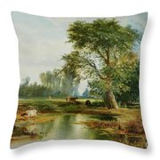 Cattle Watering Throw Pillow by Thomas Moran
