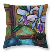 Cattleya Orchid And Frog By The Window Throw Pillow