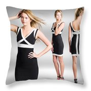 Catwalk And Runway Model At Fashion Week Throw Pillow