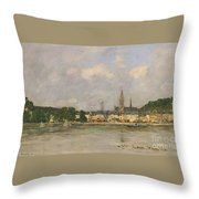 Caudebec-en-caux The Dock Of The Seine Throw Pillow