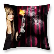 Caught In The Act Of Setting The Stage On Fire Throw Pillow