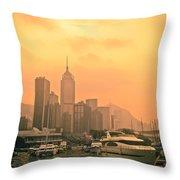 Causeway Bay At Sunset Throw Pillow